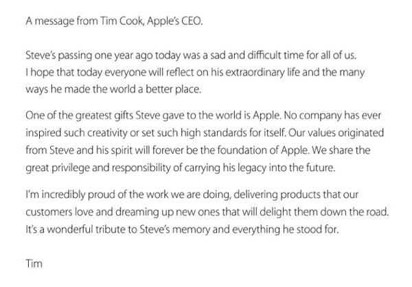 tim cook letter all about steve 25290