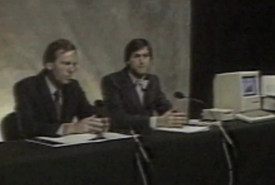 Steve Jobs (right) and John Sculley (left) with Mac