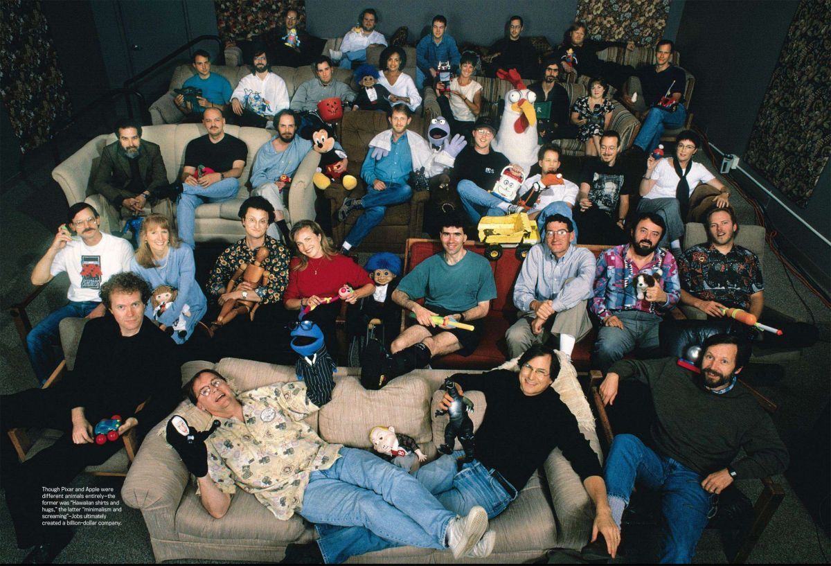 Steve Jobs and the Pixar team, 1995