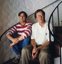 Steve and Bill Gates pose for the 10th anniversary of the PC