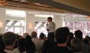 Steve Jobs speaks at Apple campus cafeteria on the day Mac OS X came out