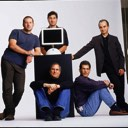 Steve Jobs poses with iMac G4 and Apple's top execs: Jony Ive, Avie Tevanian, Jon Rubinstein and Sina Tamaddon