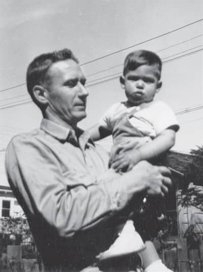 1957 - Paul Jobs and his young son Steve, age 2