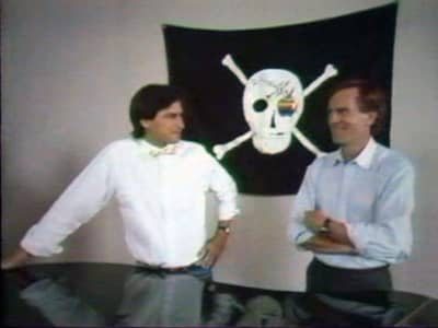 1984 - Steve Jobs and Apple CEO John Sculley by the Mac team's grand piano