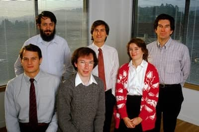 1986 - The NeXT founding team - From left to right and top to bottom: Rich Page, Steve Jobs, George Crow, Dan'l Lewin, Bud Tribble and Susan Barnes