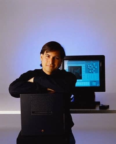 1 Oct 1988 - Steve Jobs poses with a NeXT computer