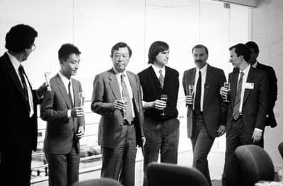 13 Jun 1989 - Steve and Canon representatives at the NeXT factory, after signing an investment deal in NeXT