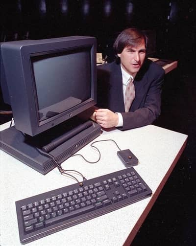 15 Sep 1990 - Steve Jobs poses with the new NeXT Station