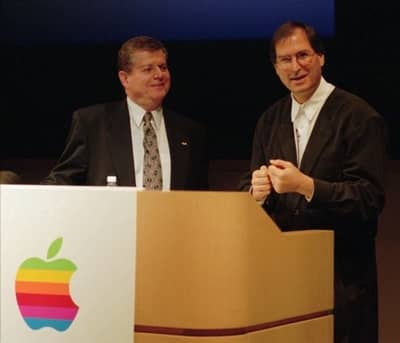 20 Dec 1996 - Steve Jobs at a press event with Apple CEO Gil Amelio announcing the NeXT acquisition