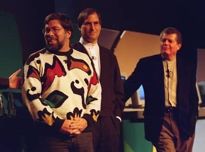 7 Jan 1997 - Steve Wozniak, Steve Jobs and Apple CEO Gil Amelio at the Macworld keynote