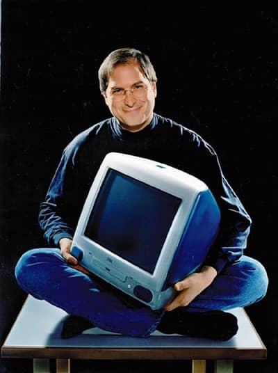 1998 - Steve Jobs with a blue iMac