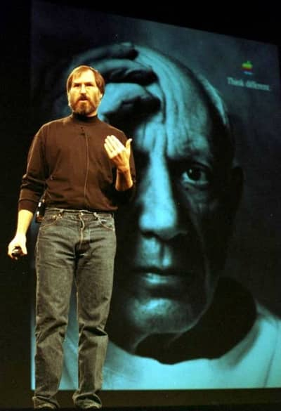 6 Jan 1998 - Steve Jobs in front of a Think Different ad featuring Pablo Picasso, Macworld SF 1998