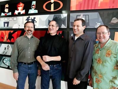 24 Jan 2006 - Ed Catmull, Steve Jobs, Bob Iger and John Lasseter announcing the Pixar-Disney merger