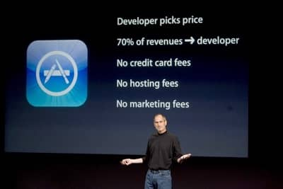 6 Mar 2008 - Steve Jobs unveils the terms of the iOS App Store